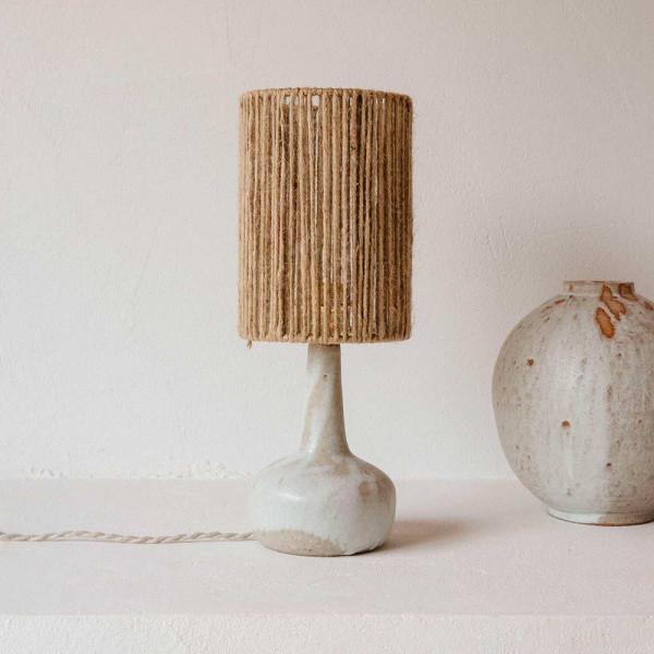 LAMPE LUNE 1 by Gres Ceramics abat jour en jute epaisse