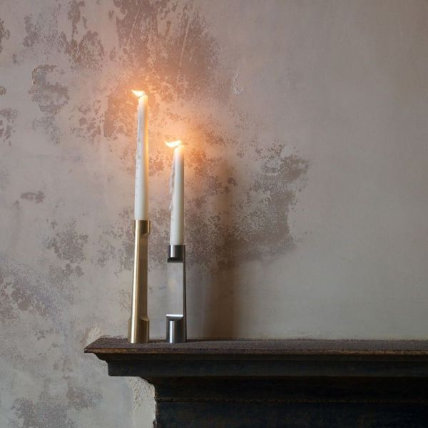industry candle holders styled in an interior