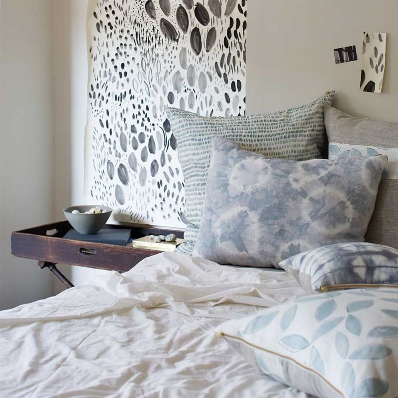 leaves cushion cover in a room by rebecca atwood