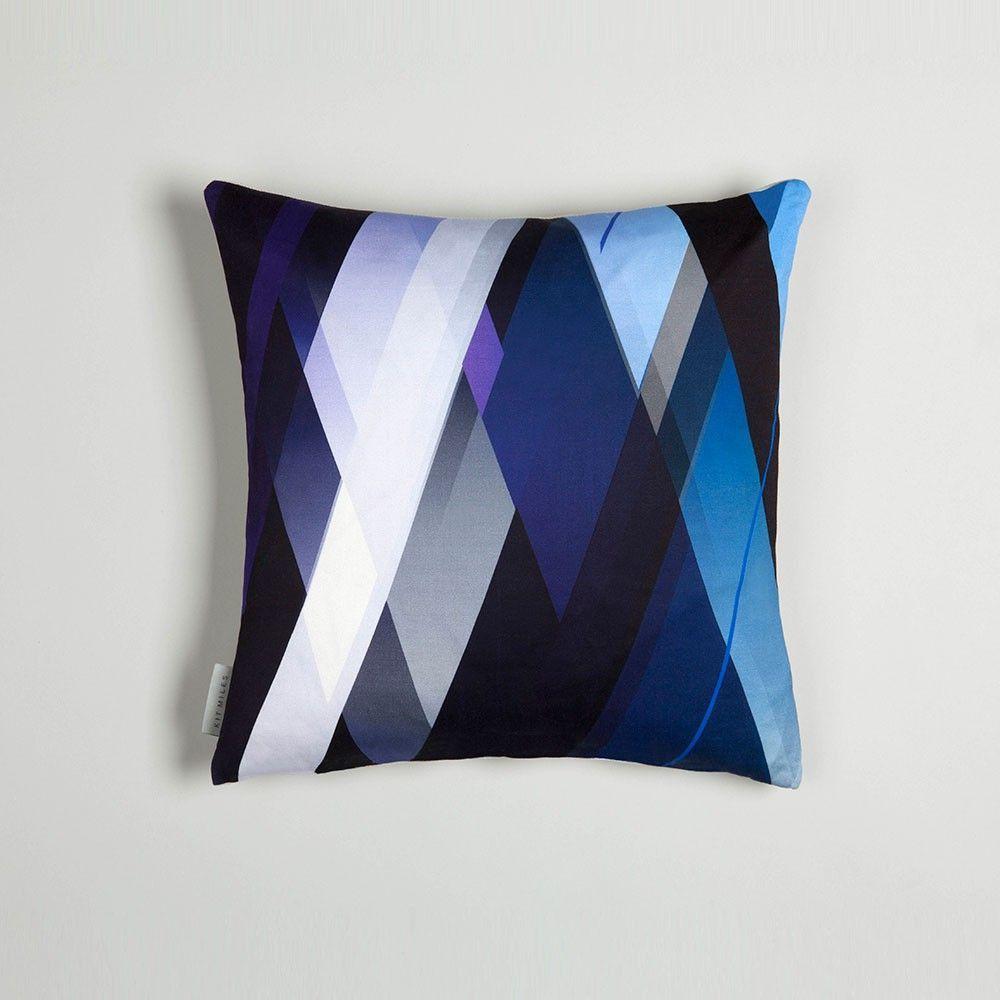 diagonal cushion indigo by kit miles