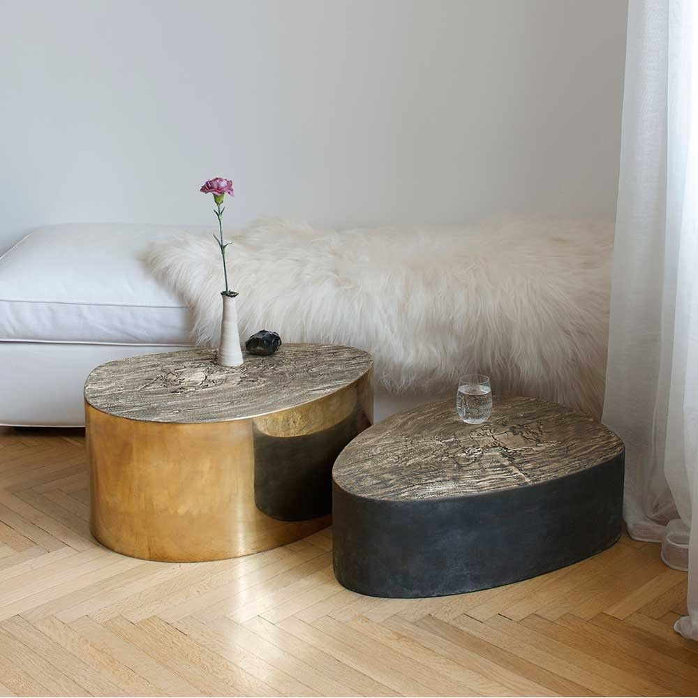 albeo brass coffee table styled in an interior by Irene Maria ganser