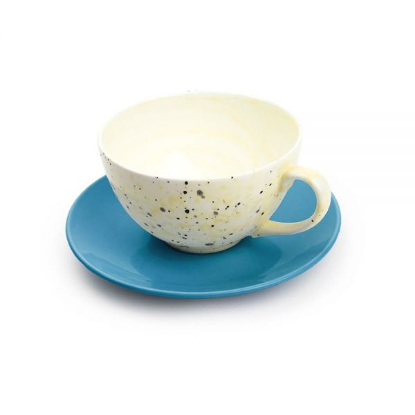 ACCIDENTAL EXPRESSIONIST LARGE TEA CUP & SAUCER by Martyn Thompson