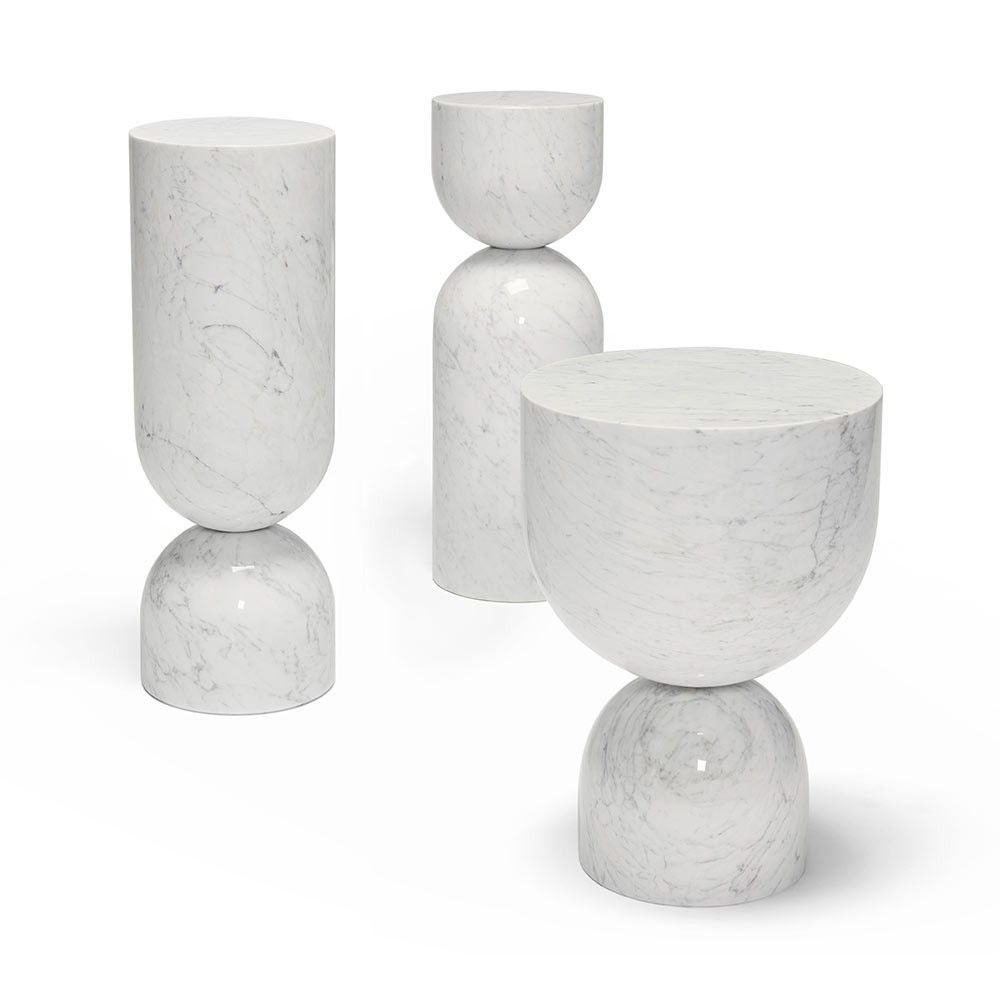 table d'appoint blanc time piece marble by sé