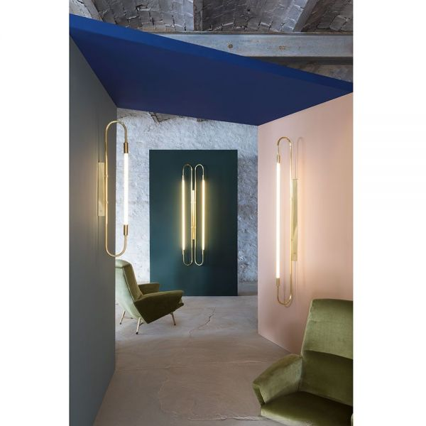 Neon double wall light by Magic Circus photographed in living room
