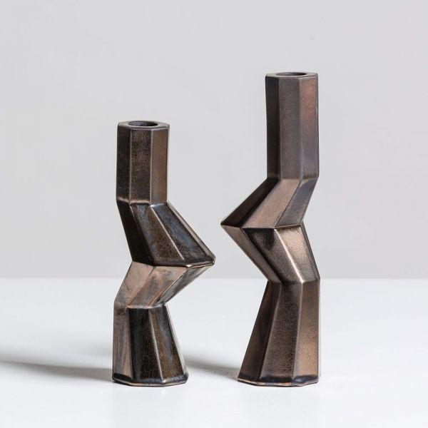 fortress militia candleholders by bohinc studio bronze