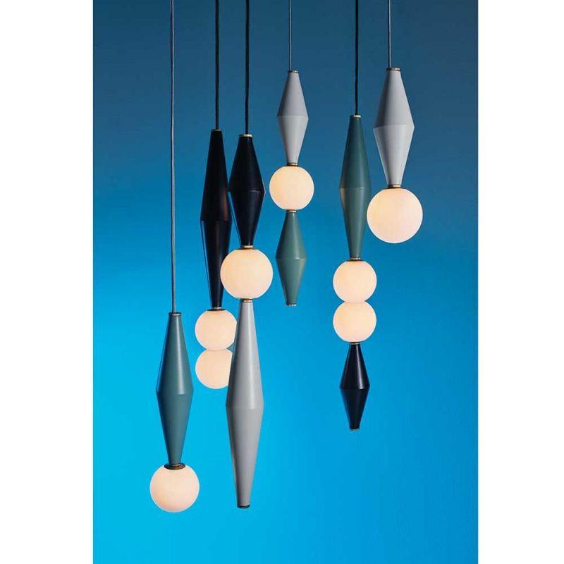 mason editions gamma D pendant lights on blue background