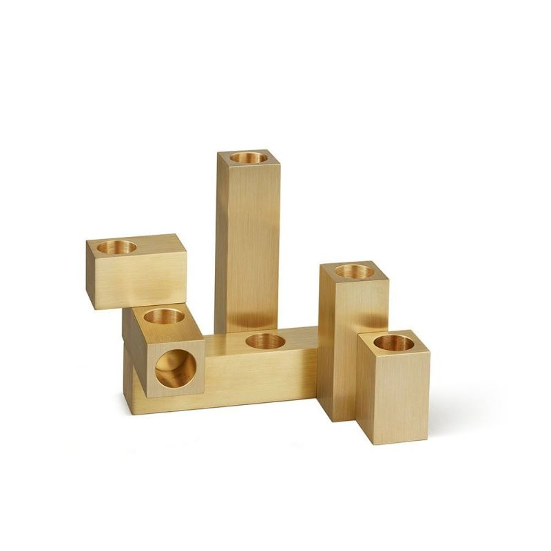 set of 6 domino candleholders by laloul  brass