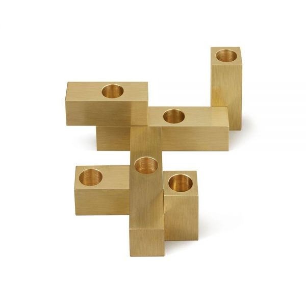 set of 6 domino candleholders  by laloul with no candles
