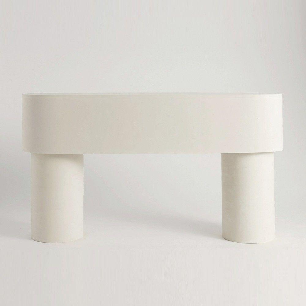 white pilotis side table by malgorzata bany