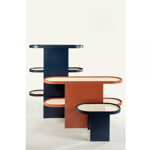 piani console table styled in an interior by editions
