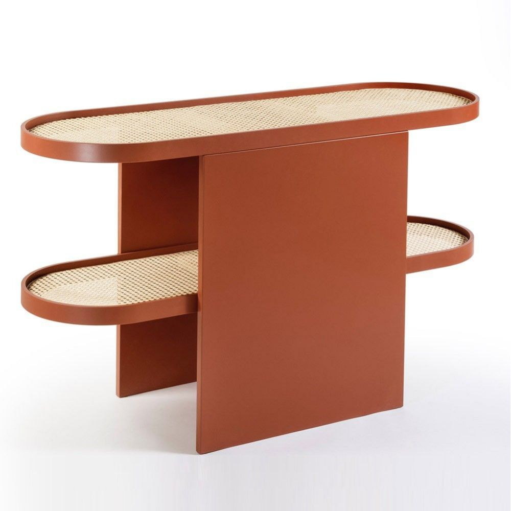 leather piani console table by  editions milano