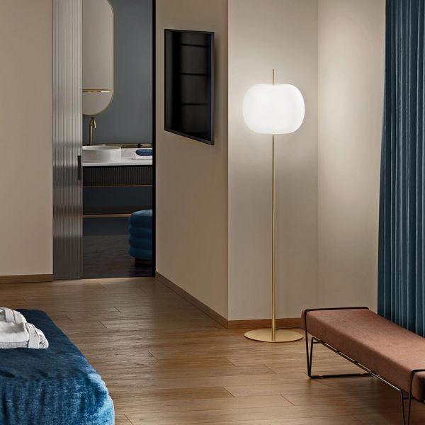 Kushi XL floor lamp by Kundalini in bedroom