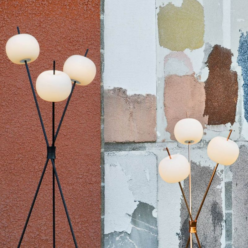 kushi floor lamp styled in an interior by kundalini