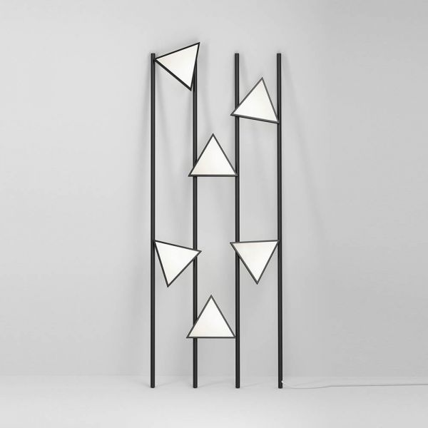 Lines and Triangles Floor Light by Atelier Areti in black