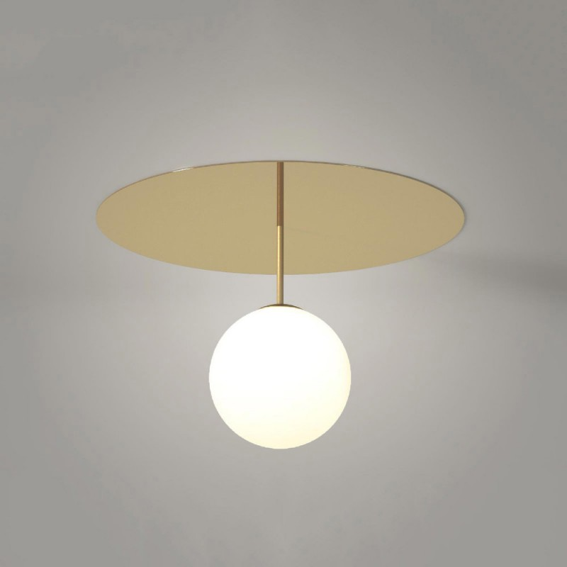 Plate and Sphere ceiling light with stem by Atelier Areti