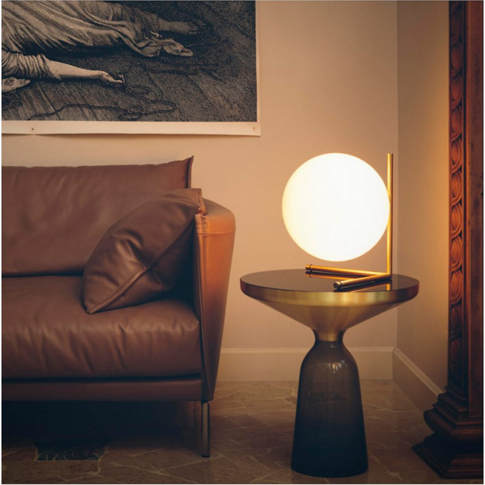 ic t2 low table light styled in an interior by flos