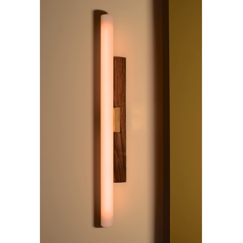 Greffe wall light with walnut base