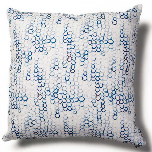 overlapping circles cushion cover white background by rebecca atwood