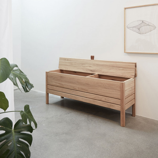 a line storage bench white oak form and refine