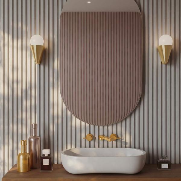 Cornet wall light brass in the bathroom