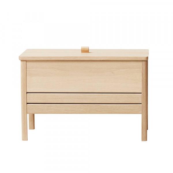 A line storage bench 68 chêne blanchi de face