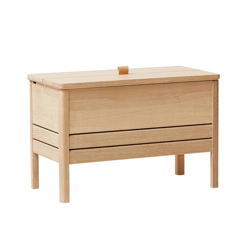A line storage bench 68 chêne blanchi de profil