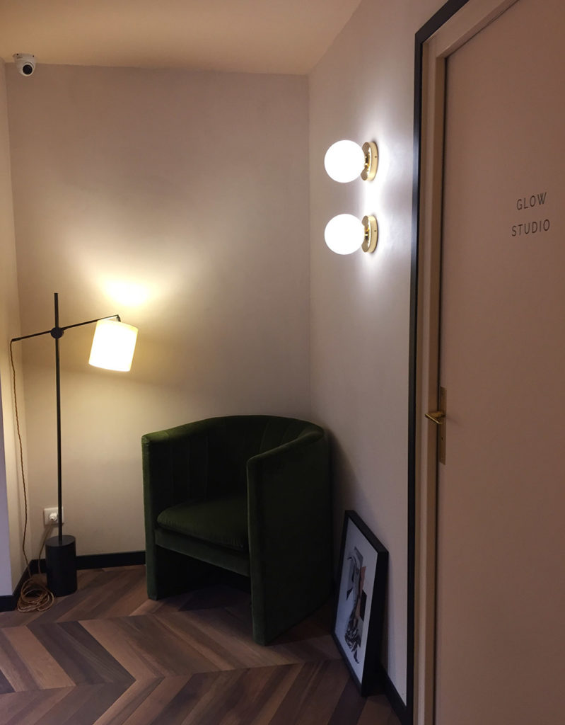 Brass wall lights by Pedret as seen in Aime Skincare Paris